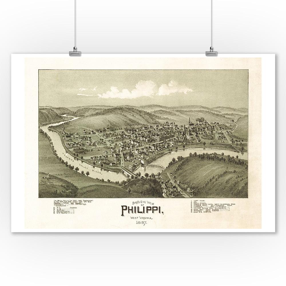 Philippi, West Virginia - Panoramic Map (9x12 Art Print, Wall Decor Travel Poster)
