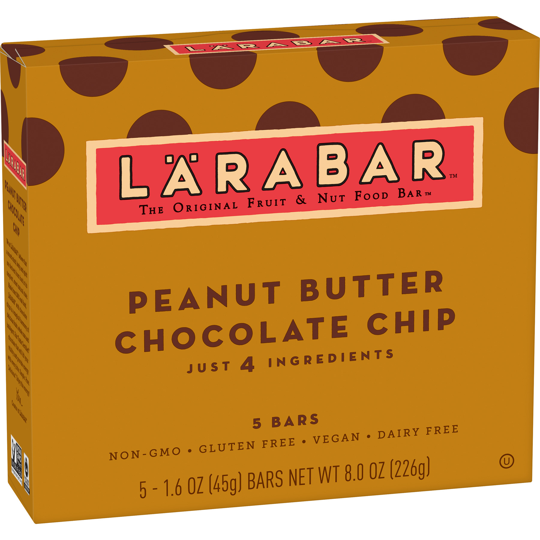 (4 Pack) Larabar Gluten Free Bar Peanut Butter Chocolate Chip 1.6 oz Bars