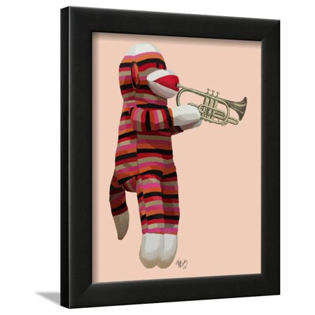 Sock Monkey Playing Trumpet Framed Print Wall Art By Fab Funky ...