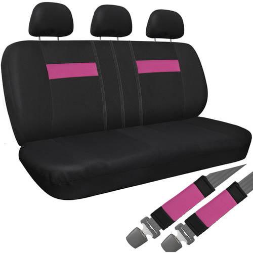 Car SUV Van Truck Seat Cover Black 8-Piece Set Bench Belt Pad/Detachable Head Rest
