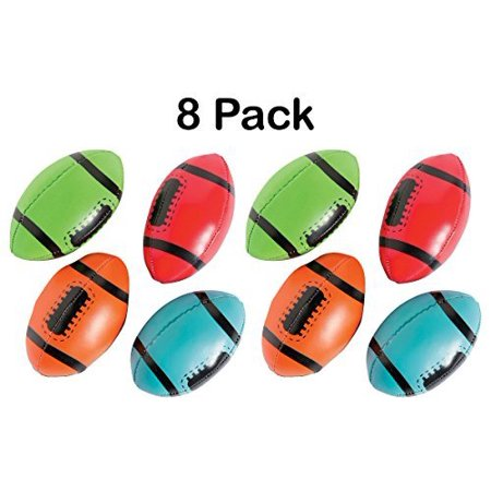 Foam Footballs - Pack Of 8 - 4 Inches Assorted Colors Soft Squeeze Sports Stress Balls - Relaxation And Anxiety Relief – For Kids And Adults, Great Party Favors, Fun, Toy, Gift, Prize - By Kidsco (Cheap Prizes For Adults)