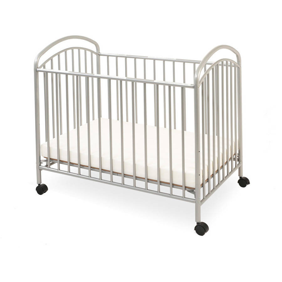 LA Baby Classic Arched Mini/Portable/Compact Crib, Pewter