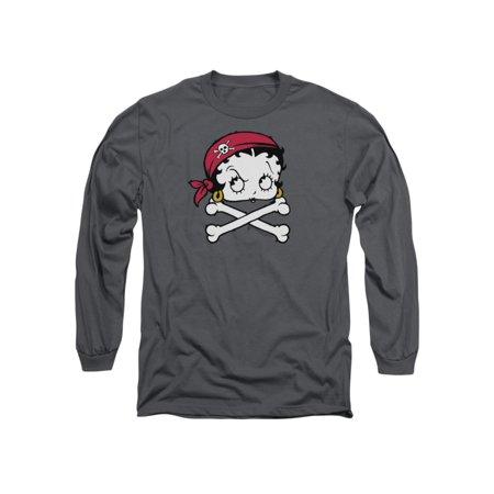 Betty Boop Cartoon Pirate Adult Long Sleeve T-Shirt Tee Betty Boop Long Dress
