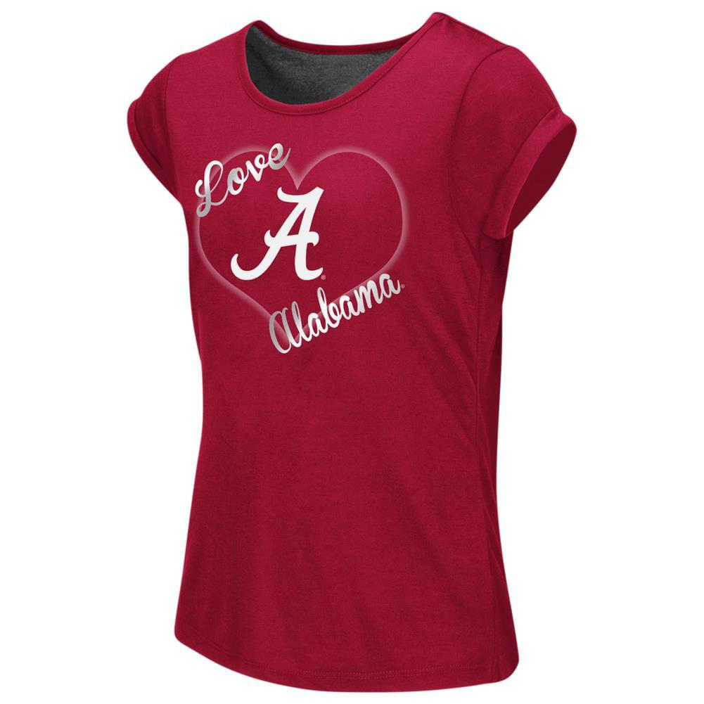 Alabama Crimson Tide Bama Girls Tee Heathered Split Back T-Shirt