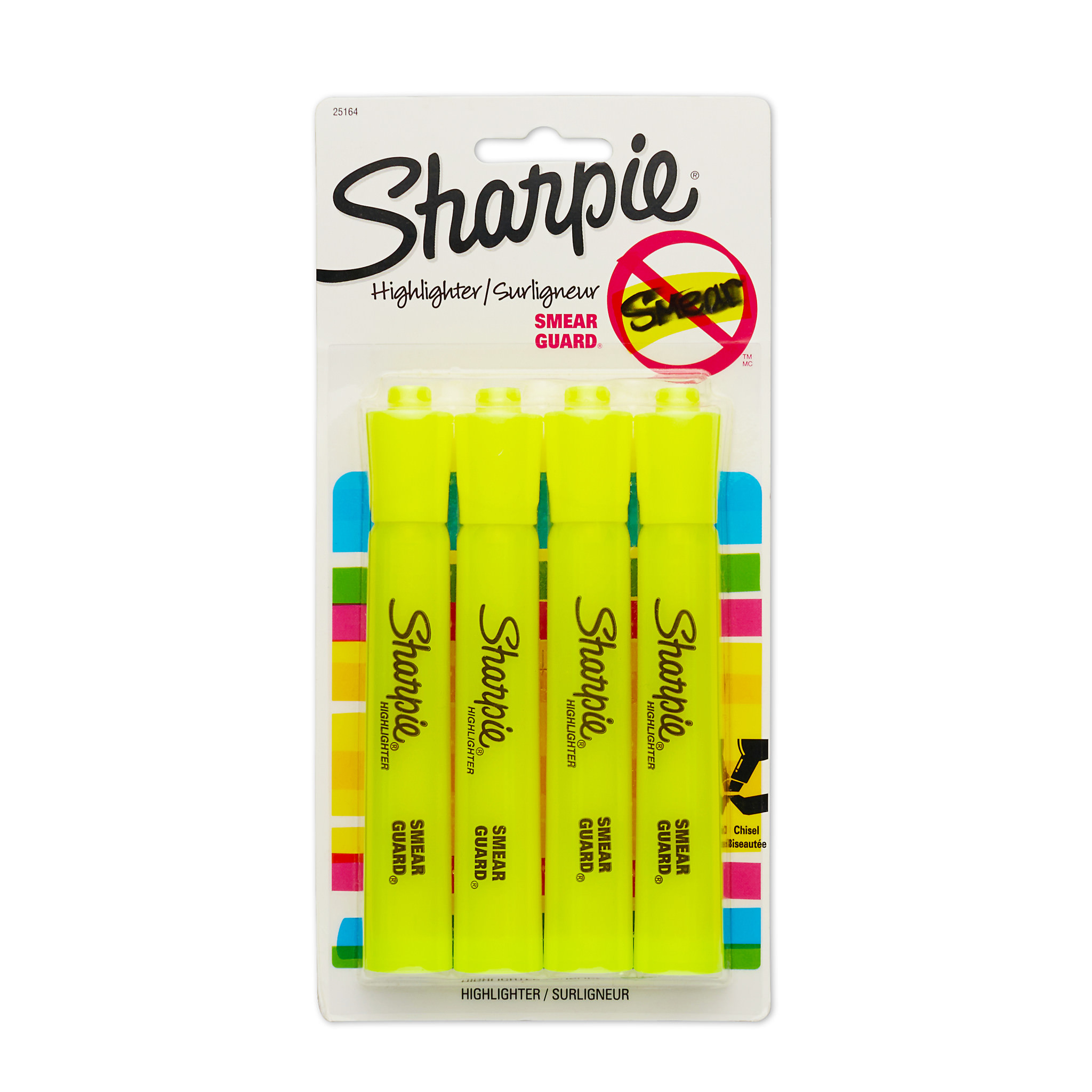 Sharpie Tank Style Highlighters, Chisel Tip, Fluorescent Yellow, 4 Pack