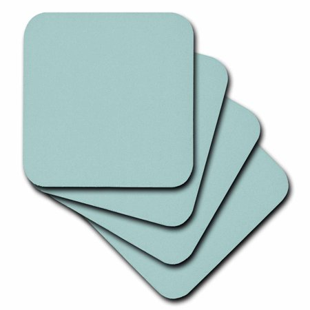 3dRose Plain mint blue - solid color - light turquoise-grey-gray - modern contemporary simple pastel teal - Soft Coasters, set of - Mint Blue Color
