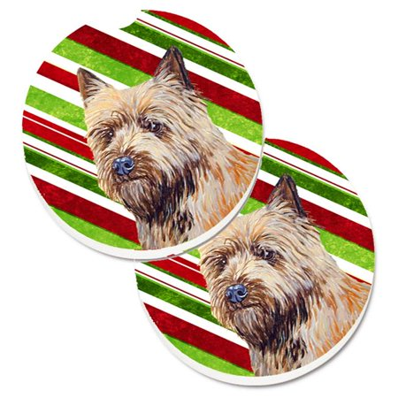 Cairn Terrier Candy Cane Holiday Christmas Set of 2 Cup Holder Car Coaster - image 1 de 1