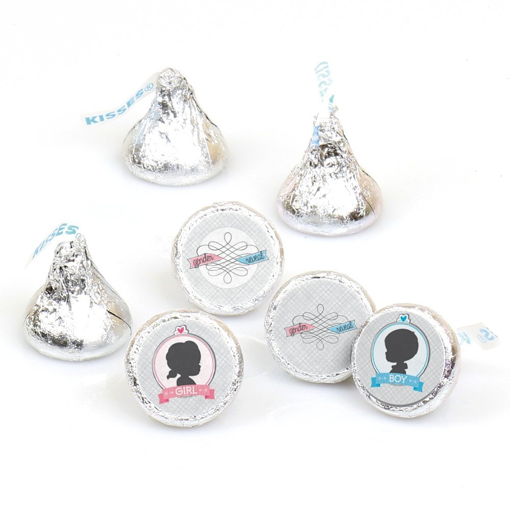 Gender Reveal - Party Round Candy Stickers - Labels Fit Hershey's Kisses (1 sheet of 108)