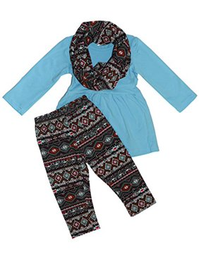 Unique Baby Girls 3 Piece Matching Aztecan Legging Set (5T, Pink)