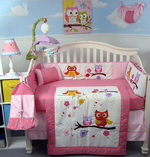 SoHo Midnight Lullaby Owls Baby Crib Nursery Bedding Set