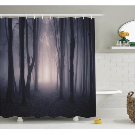 Farm House Decor Path Through Dark Deep In Forest With Fog Halloween Creepy Twisted Branches Picture, Bathroom Accessories, 69W X 84L Inches Extra Long, By Ambesonne - National Forest Adventure Farm Halloween