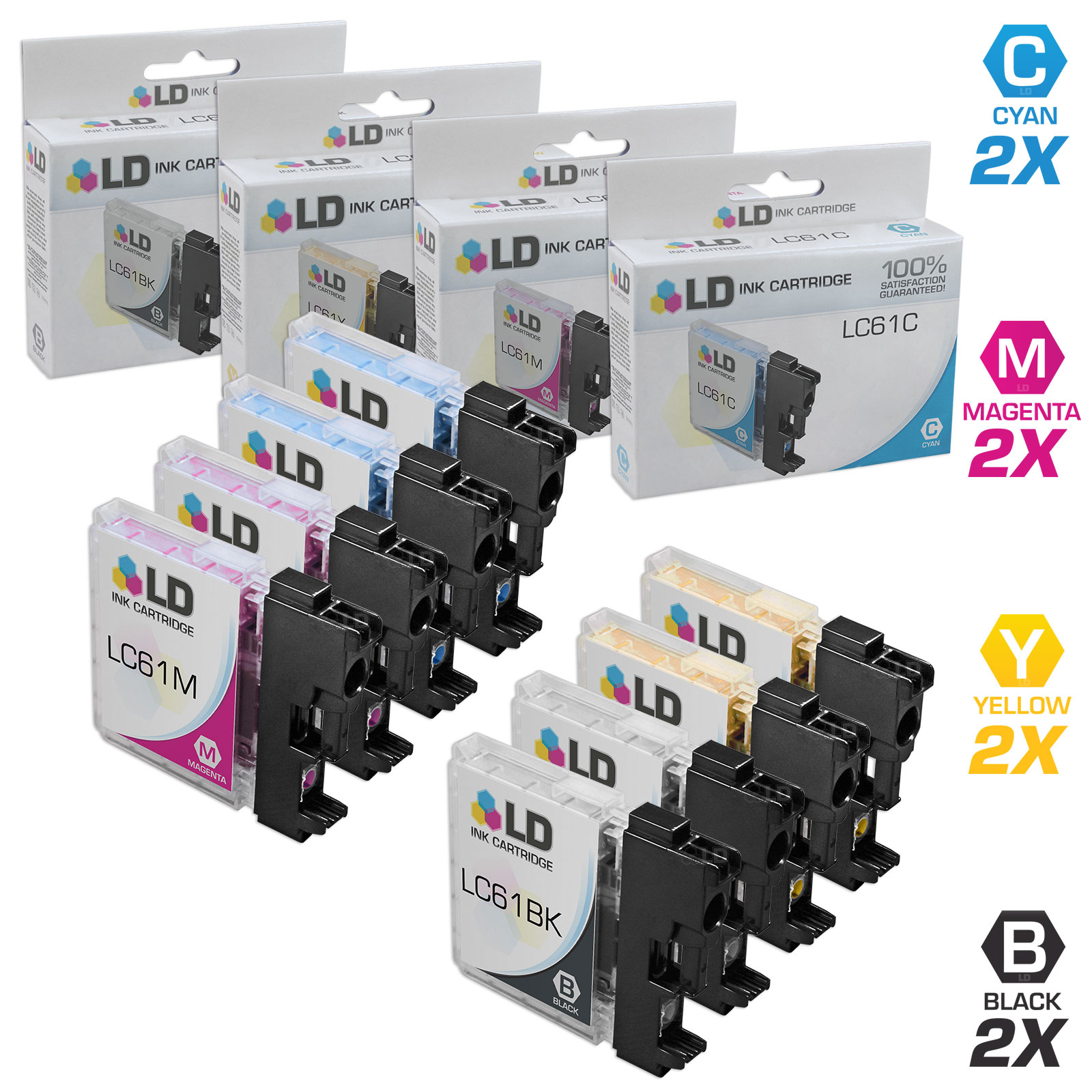 LD Compatible Brother LC61 Inkjet Cartridges: Black LC61BK, Cyan LC61C, Magenta LC61M, and 1 LC61Y Yellow