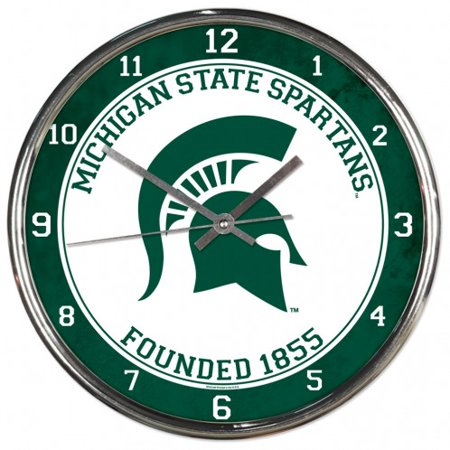 - Michigan State Spartans Round Chrome Wall Clock