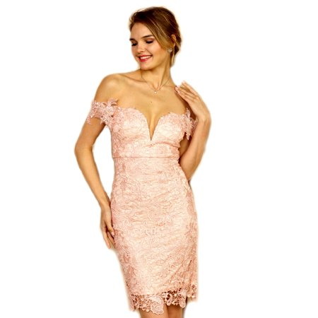 - Soieblu Blush Lace Yoke & Mesh off the Shoulder Embroidery Bodycon Dress with Pearl Accents, Large