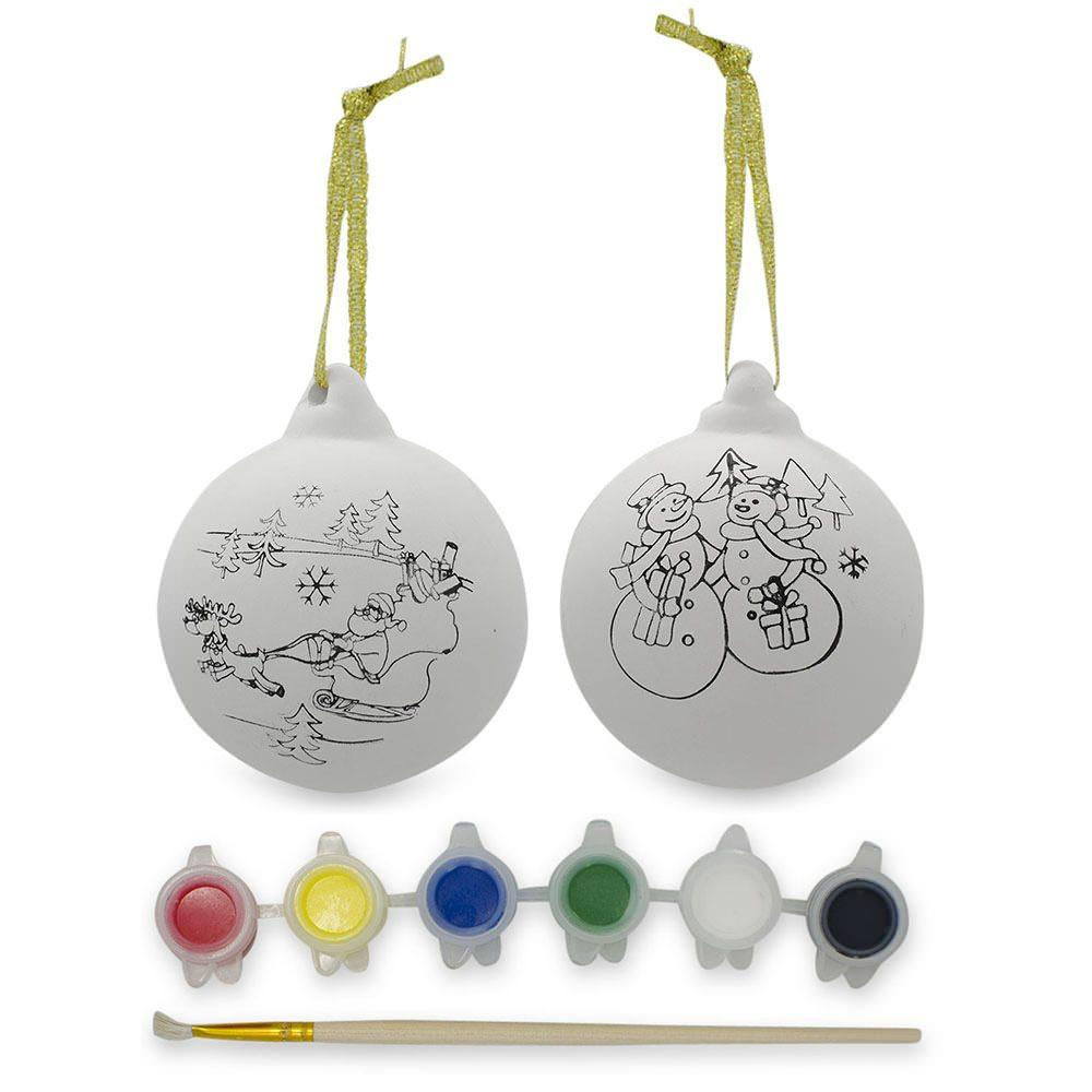 Set of 2 Paint your Own Santa Gypsum Christmas Ornaments