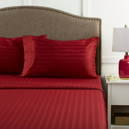 Better Homes & Gardens 400 Thread Count Damask Performance Red King Bedding Sheet Set