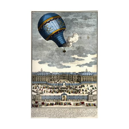 Color Engraving of Hot Air Balloon Lifting off from the Palace of Versailles Print Wall Art By Stefano - Engraved Balloons