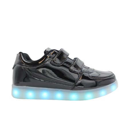 Galaxy LED Shoes Light Up USB Charging Low Top Strap Kids Sneakers (Glossy Black)
