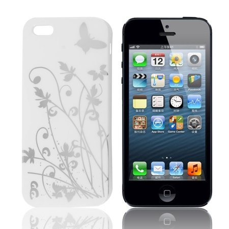 Unique Bargains Silver Tone Flowers Pattern White TPU Soft Plastic Case Protector for iPhone
