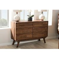 Baxton Studio Sierra Mid-Century Modern Brown Wood 6-Drawer Dresser