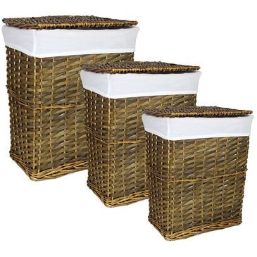 Entrada EN110420 3 Piece Rectangle Willow Hamper