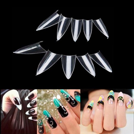 500Pc Clear Natural False Sharp Ending Stiletto Acrylic Nail Art Design Tips DIY (Halloween Nail Art Designs Diy)