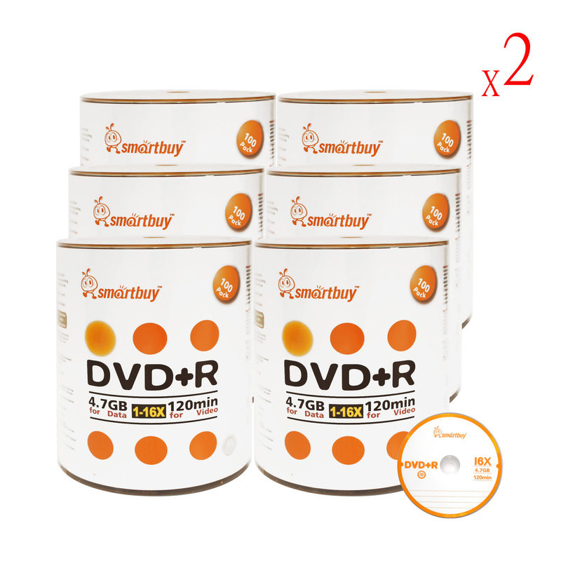 1200 Pack Smartbuy 16X DVD+R DVDR 4.7GB Logo Top (Non-Printable) Data Video Blank Recordable Disc