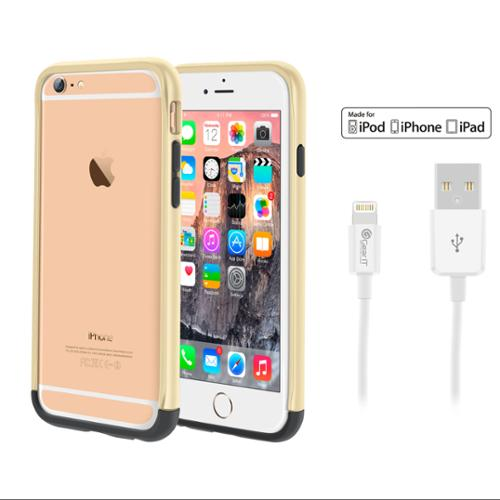 iPhone 6 Case Bundle (Case + Cable), roocase iPhone 6 4.7 Strio Bumper Open Back with Corner Edge Protection Cover with White 3ft Lightning Cable for Apple iPhone 6 4.7-inch, Champagne Gold