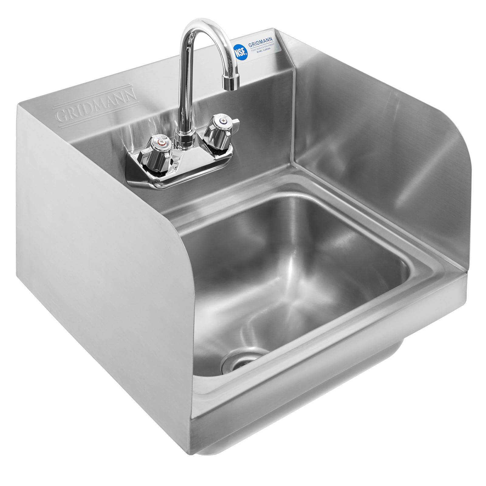 Gridmann Commercial Nsf Stainless Steel Sink With Faucet Sidesplashes Wall Mount Hand Washing Basin Walmart Com Walmart Com