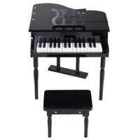 GHP Kids Black 30-Keys MDF Board Grand Baby Piano Toy with Wood Bench & Music Holder