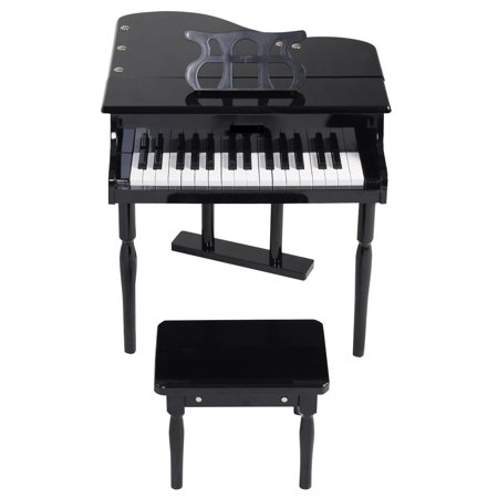 GHP Kids Black 30-Keys MDF Board Grand Baby Piano Toy with Wood Bench & Music Holder House Of Troy Piano Lamp