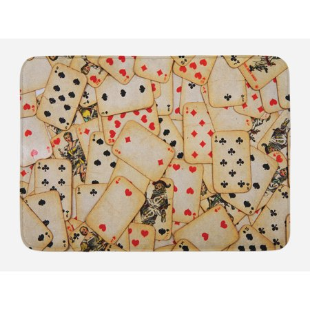 Casino Bath Mat, Old Playing Cards Themed Vintage Classic Style Entertaining Wealth Fortune, Non-Slip Plush Mat Bathroom Kitchen Laundry Room Decor, 29.5 X 17.5 Inches, Beige Red Black, Ambesonne - Casino Themed Event