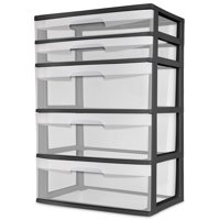 Sterilite 5 Drawer Wide Tower (Black)
