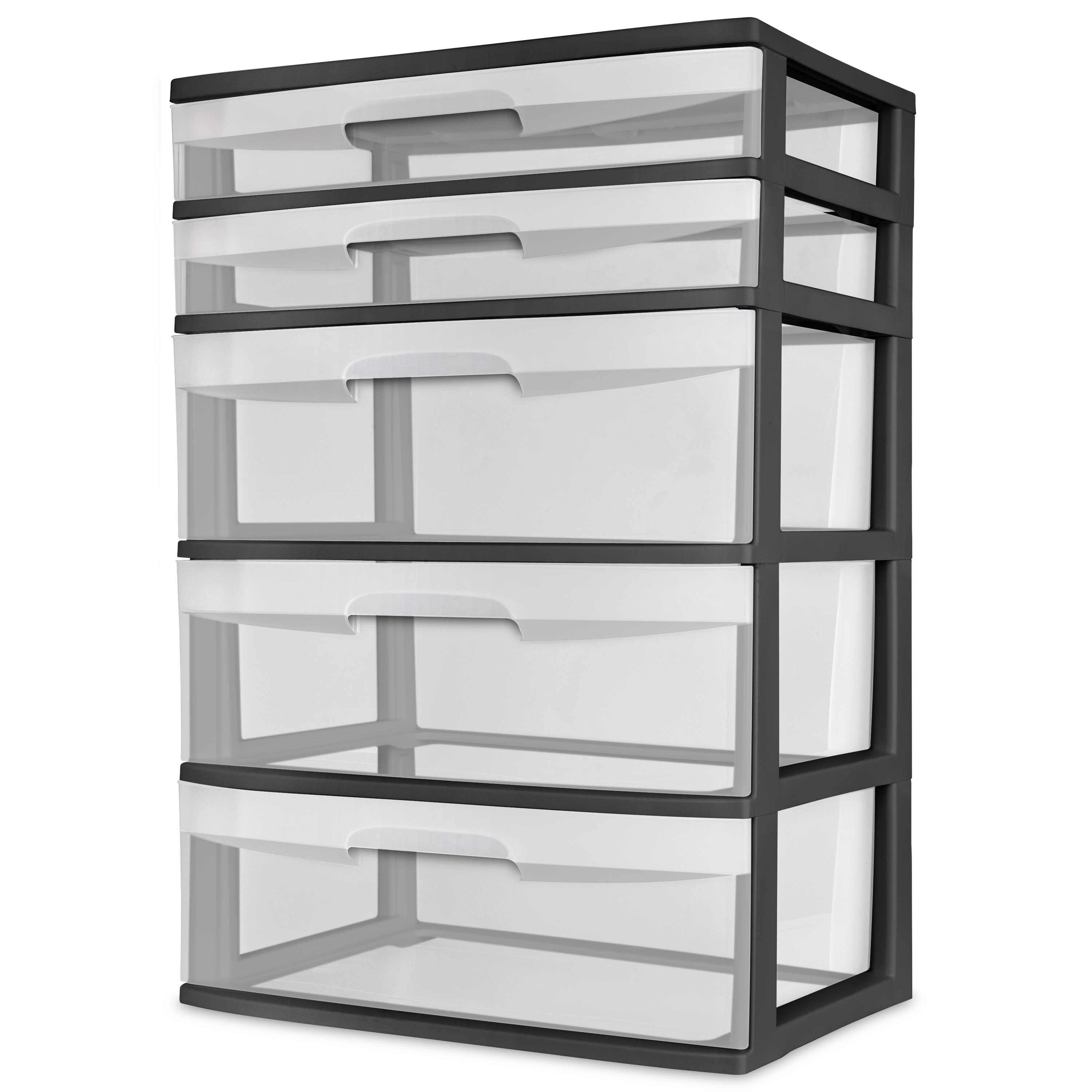 Sterilite 5 Drawer Wide Tower, Black