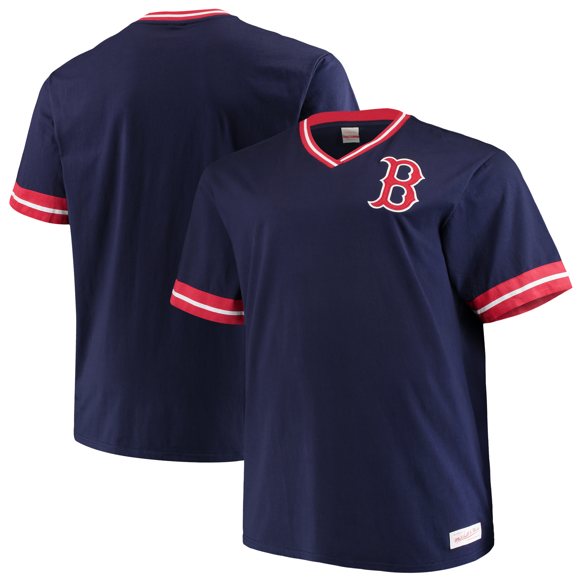 Boston Red Sox Mitchell & Ness Big & Tall Overtime Win V-Neck T-Shirt - Navy