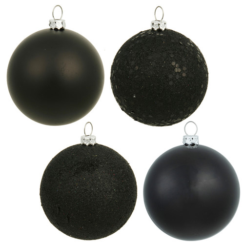 "Vickerman 4"" Black 4-Finish Ball Ornament Assortment, Set of 12"