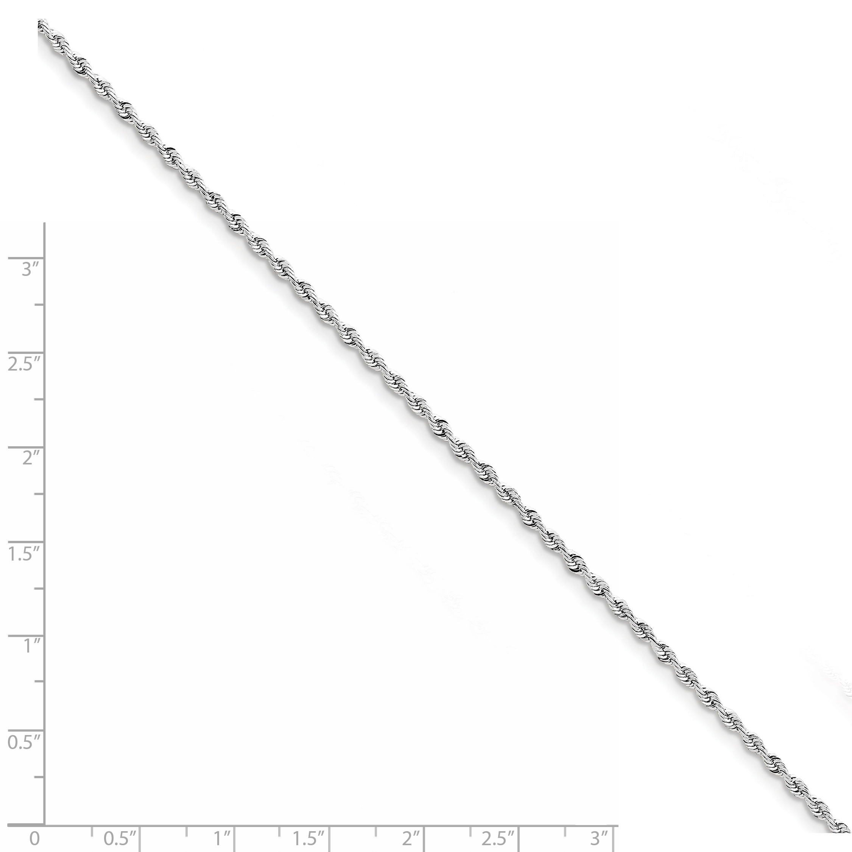 10K White Gold 2.25mm Diamond Cut Quadruple Rope Chain Anklet 9 Inch - image 1 de 2
