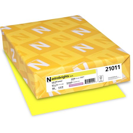 Astrobrights Laser, Inkjet Print Colored Paper, Lemon (Yellow), 500 / Ream (Quantity)