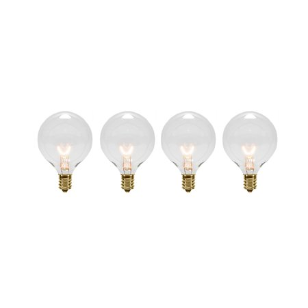 Pack of 4 Transparent Clear G40 Globe Christmas Replacement Light Bulbs Clear Globe Light Bulb