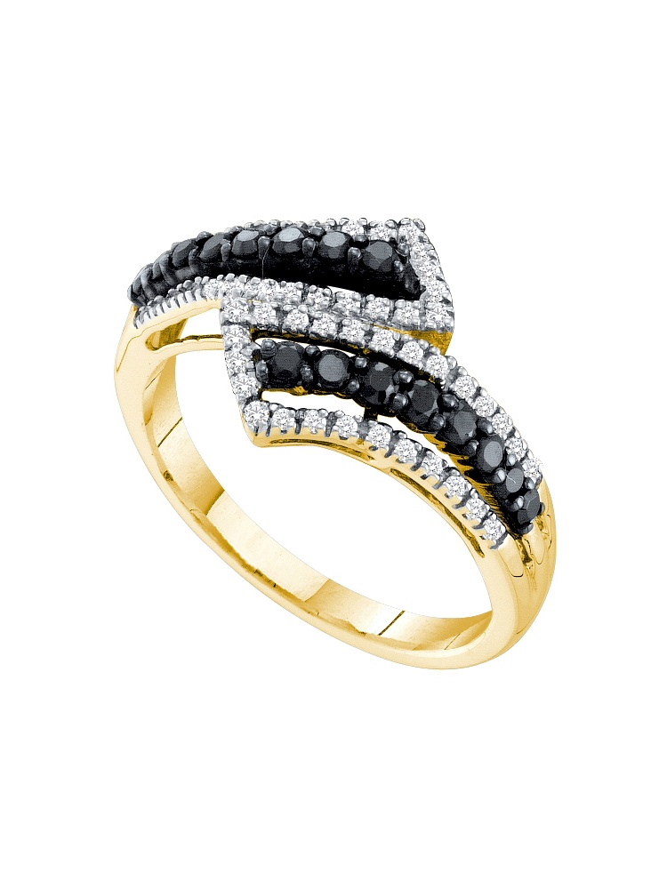 14kt Yellow Gold Womens Round Black Colored Diamond Bypass Band Ring (.50 cttw.) by Mia Diamonds