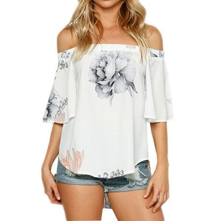 Nlife Women Short Sleeve Off Shoulder Floral Printed Asymmetric Split Hem Shirt Tops Blouse