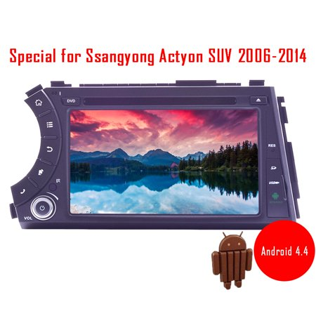 7 Inch Android 4 4 Kitkat Car Dvd Player Gps Autoradio For Ssangyong Actyon Suv 2006 2014 Support Built In Bluetooth Wifi Free 3D Gps Navigation Map Am Fm Radio Eq Adjustable 1G Ram  16G Rom