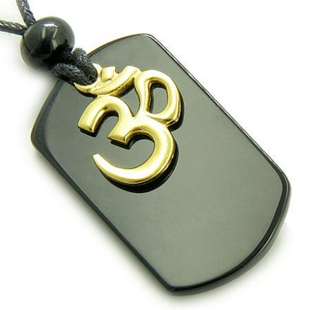 Black Agate OM Spiritual Talisman Crystal Gemstone Tag Pendant - Talisman Gemstone