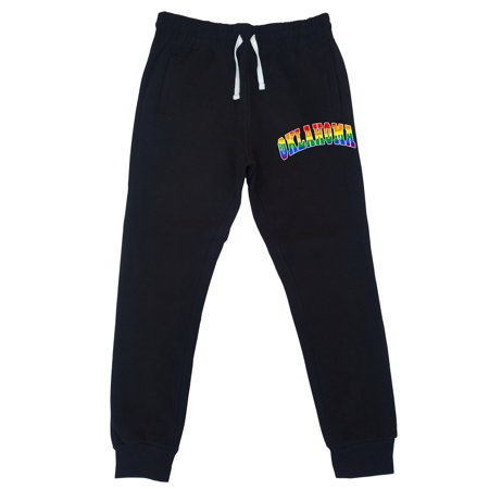 Men's Rainbow Oklahoma KT T71 Black Fleece Gym Jogger Sweatpants 2X-Large Black