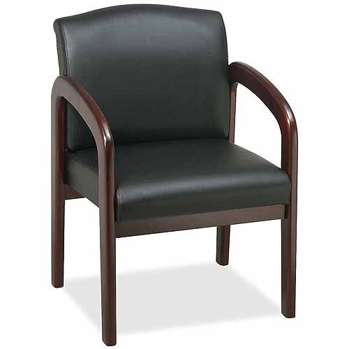 Lorell Deluxe Guest Chair, Black/Mahogany