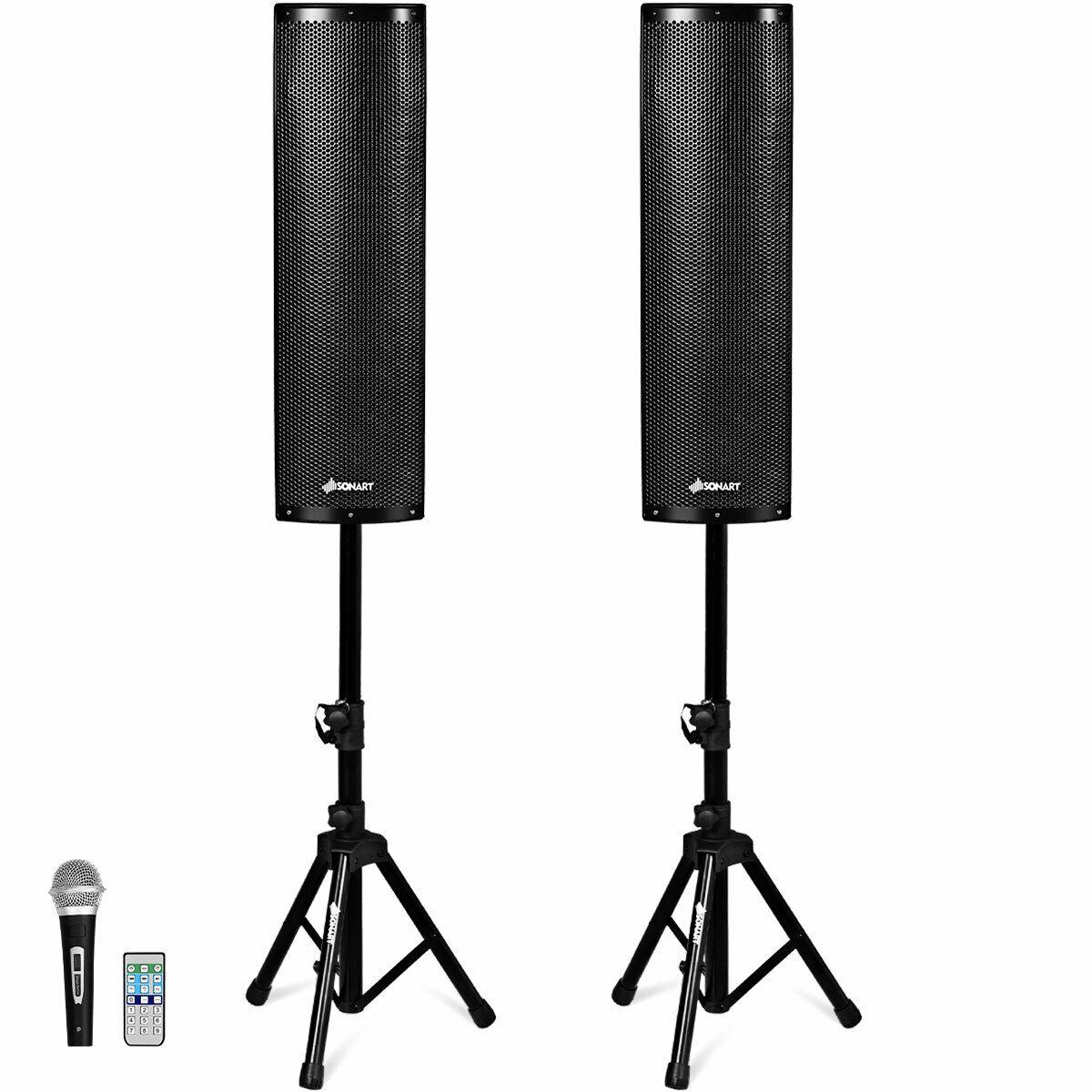 Costway 2000W Set of 2 Bi-Amplified Bluetooth Speakers