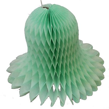 6-pack 11 Inch Hanging Honeycomb Tissue Paper Bell Decoration, Mint Green, by Devra - Mint Green Tissue Paper