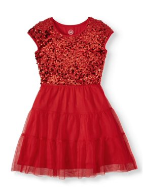 Wonder Nation Sequin & Tulle Holiday Christmas Dress (Little Girls, Big Girls & Plus)