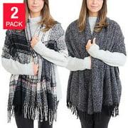 Emanuel Geraldo Womens 2 Pack Blanket Scarf (Black/Grey/Plaid)