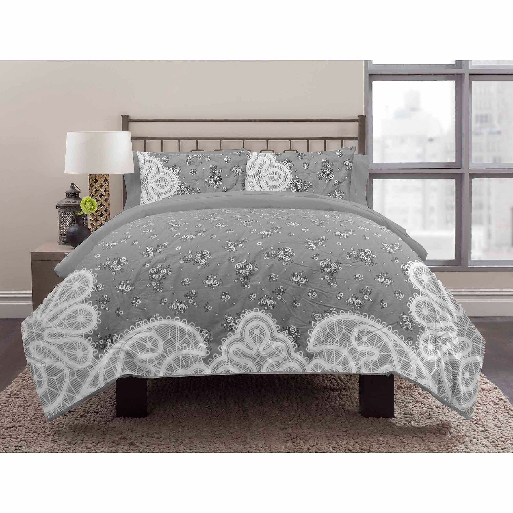 East End Living Lace Bedding Duvet Set Grey Walmart Com